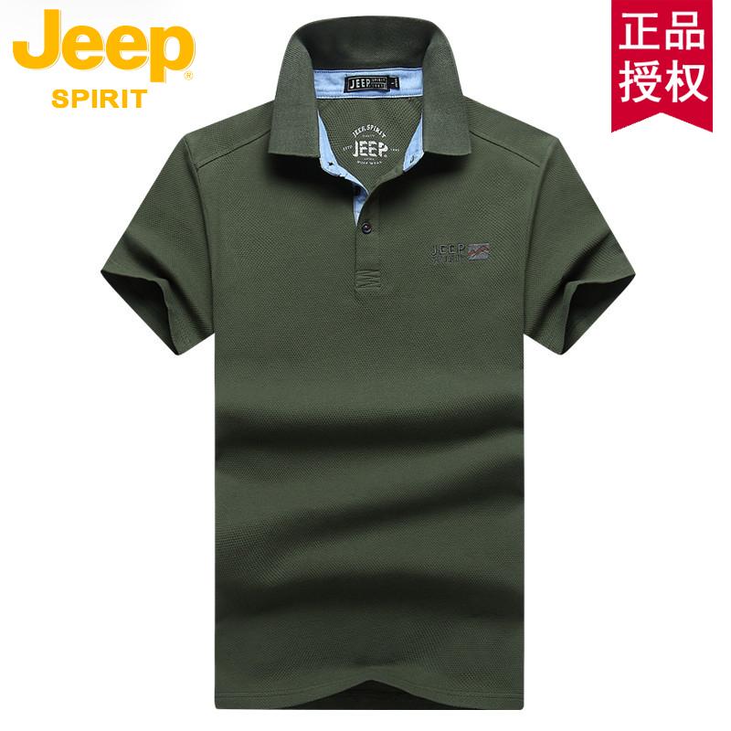 jeep男士全棉短袖t恤保罗polo衫夏季衣服舒适宽松正品半袖体恤