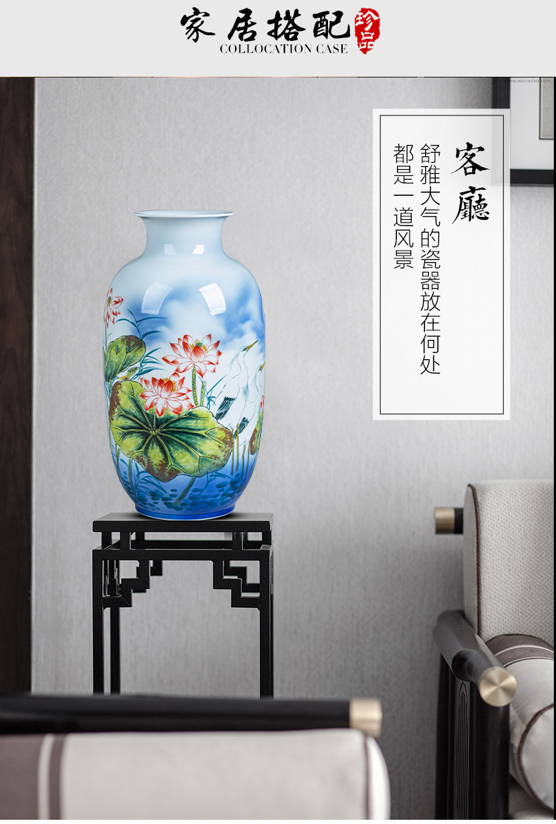 Jingdezhen ceramics hand - made vases, lotus flower arranging idea gourd bottle of large ground sitting room household decorations furnishing articles