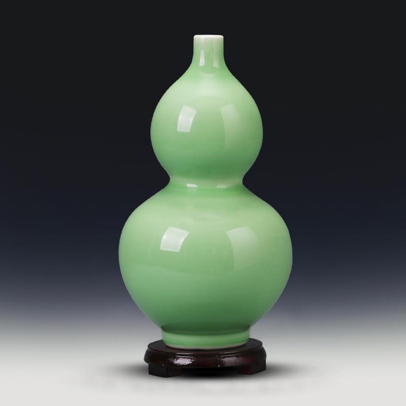 景德镇陶瓷器仿古青釉葫芦花瓶客厅家居装饰品瓷瓶简约工艺品摆件