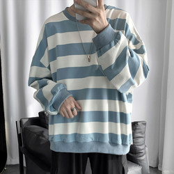 Zijun men's Korean ins striped sweater spring couple wild round neck loose jacket trend thick top