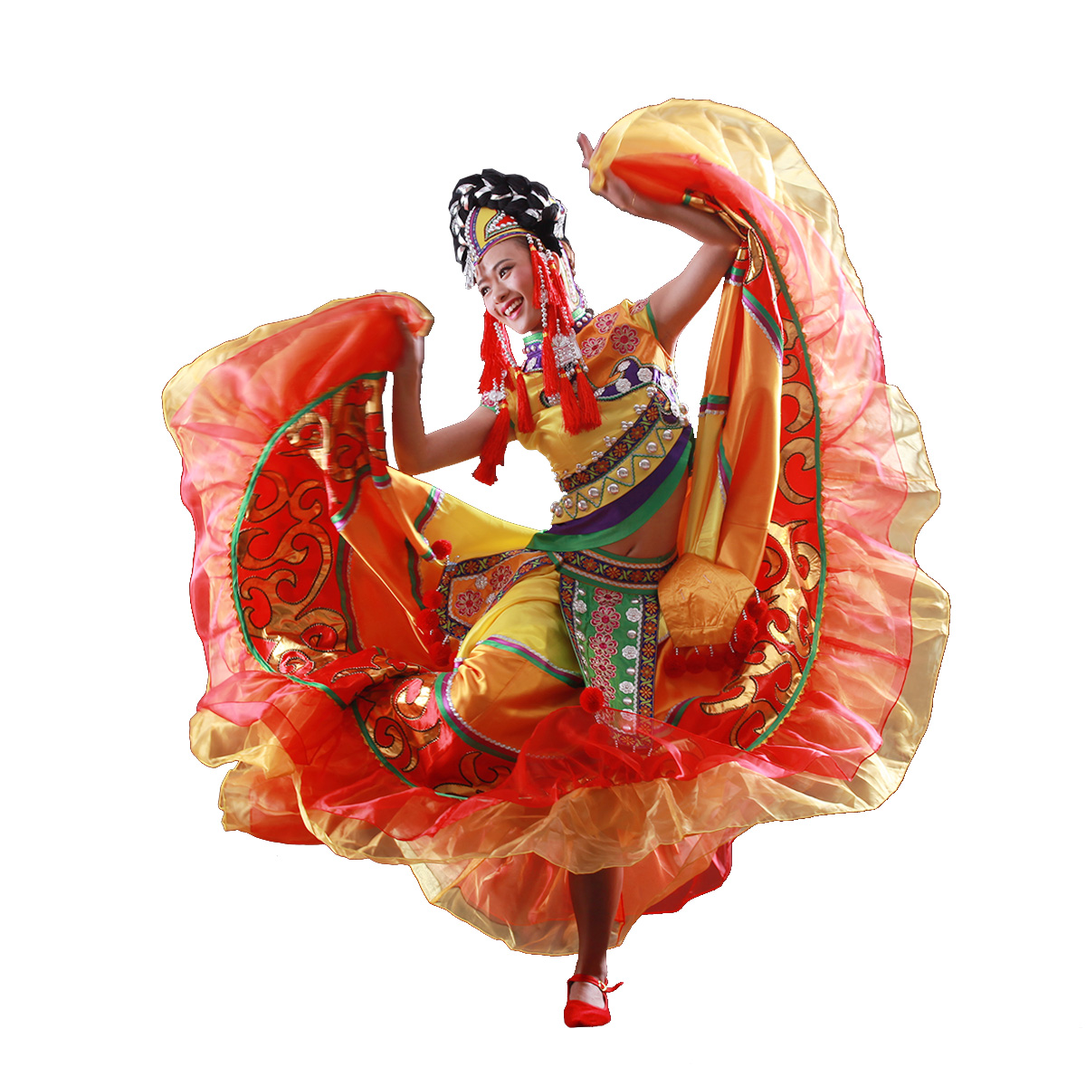 桔色彝族走秀舞大摆裙出租|服装舞台服装|开场服|民族舞蹈女|包邮