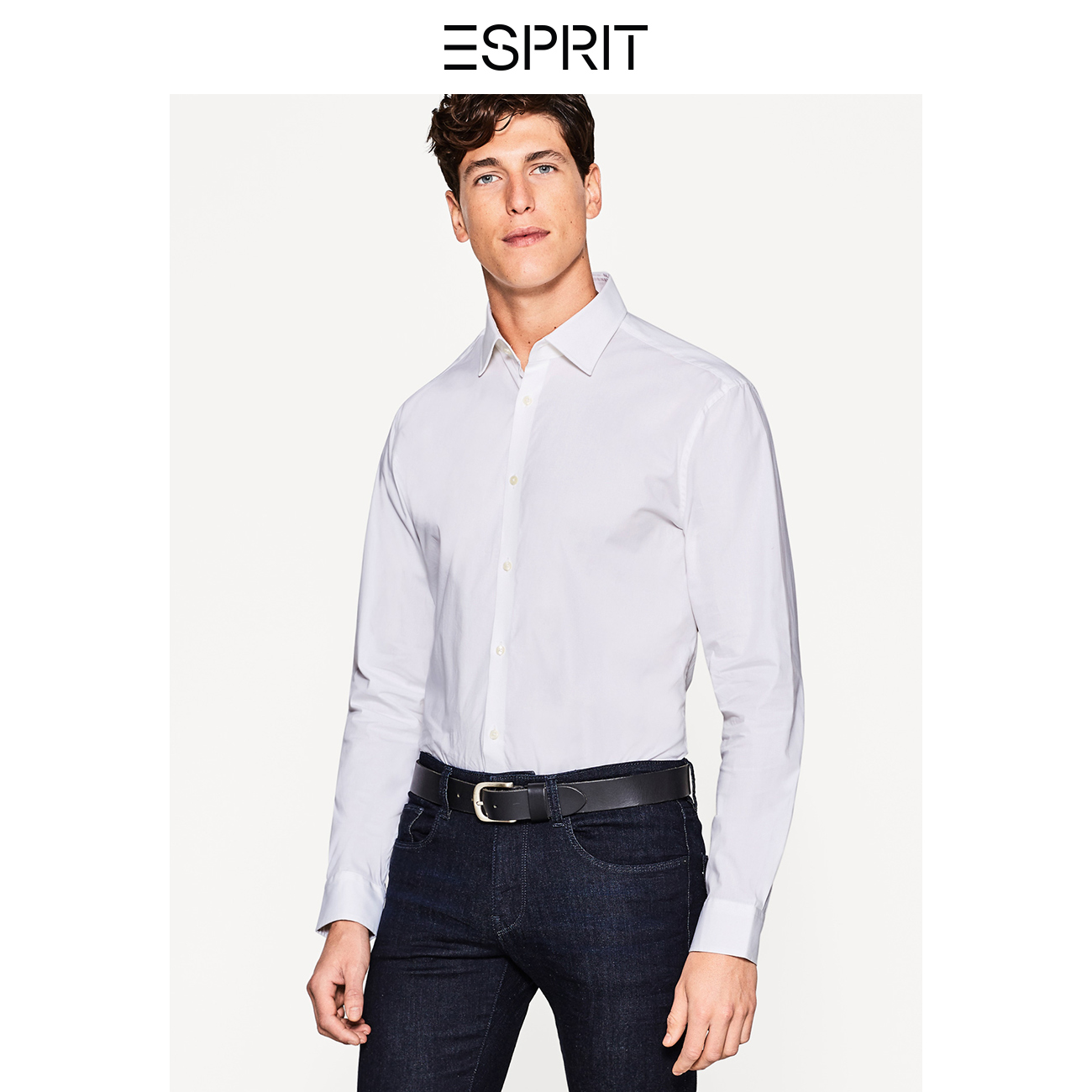 66ec79fa24e ESPRIT men s solid color simple business casual loose men s long sleeve  tops shirt-998EO2F800 · Zoom · lightbox moreview · lightbox moreview ...