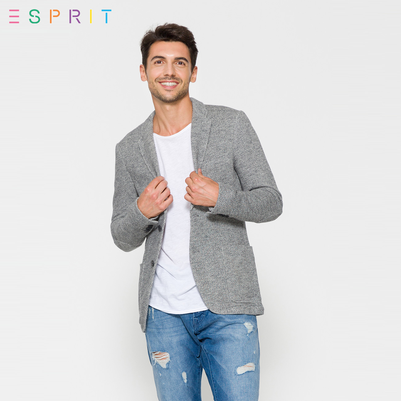 76ef8b949a4 USD 340.28  ESPRIT men s cotton slim casual blazer male-097EO2G016 T ...