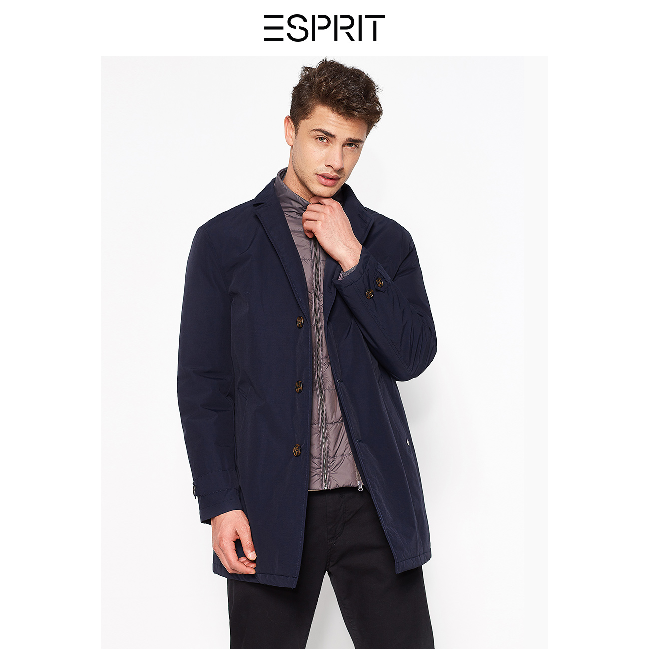 f4ed98e271d ESPRIT men s trend Single-Breasted Wind Jacket Coat casual cotton coat male-028EO2G012  T
