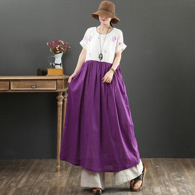 九月卡卡 文艺棉麻绣花小X型文艺显瘦大码长裙短袖连衣裙9076