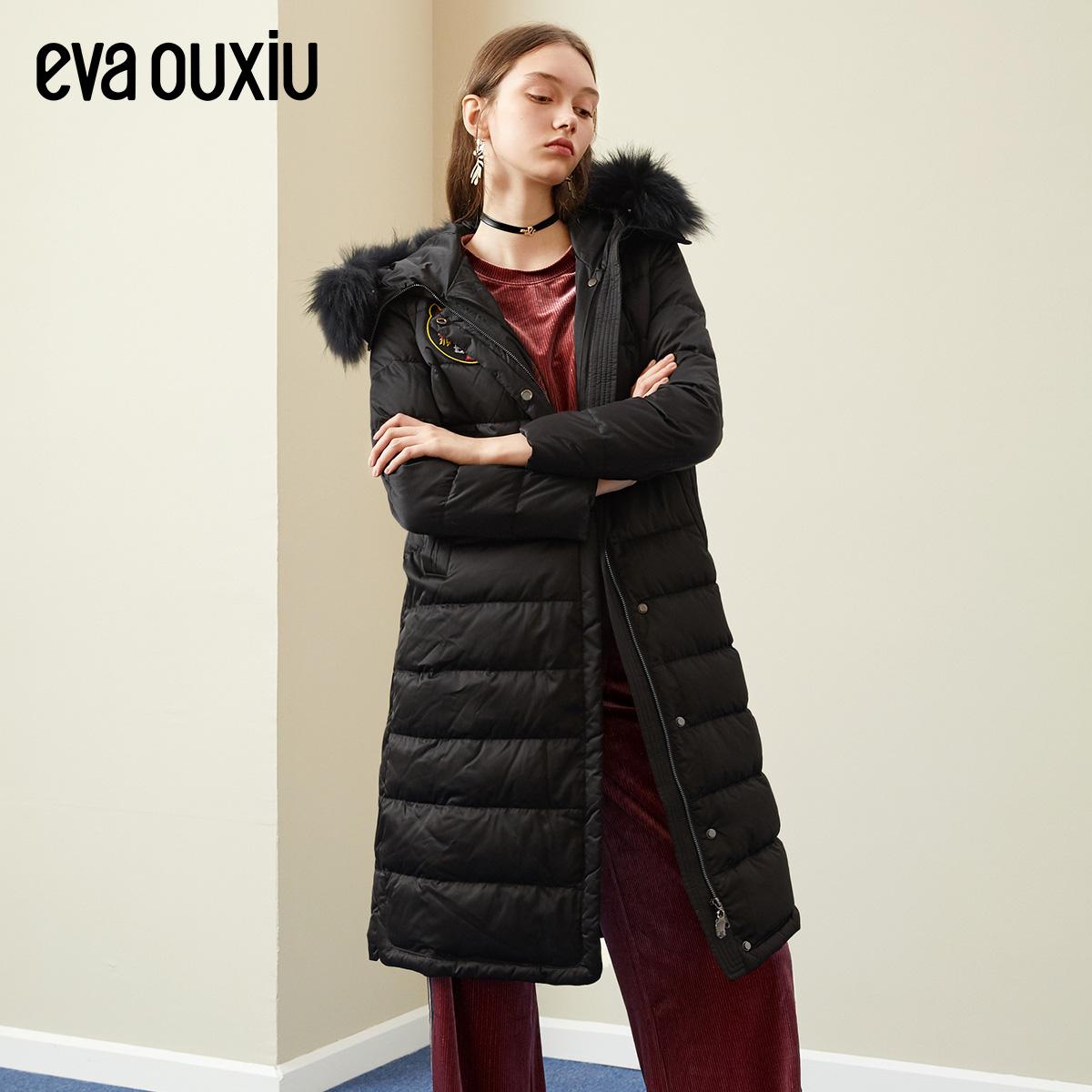 伊華歐秀2018冬季女裝新款氣質貉子毛領刺繡貼標保暖中長款羽絨服