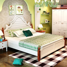 Mediterranean bed solid wood American bed rustic style bed 1.5 m children bed 1.8 bedroom furniture storage double bed