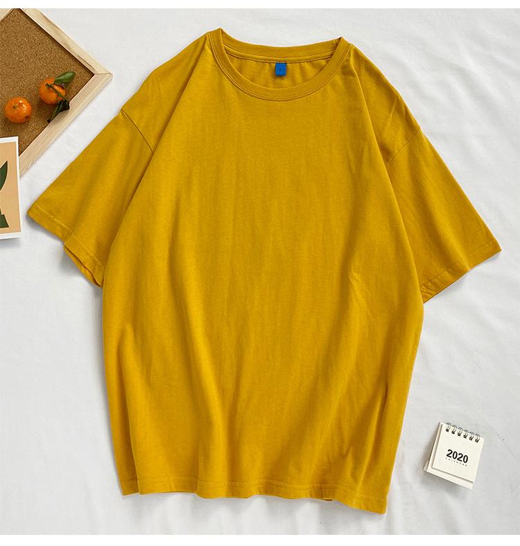 纯棉!港风夏季新款青少年学生百搭圆领休闲8色短袖t恤T521特P15