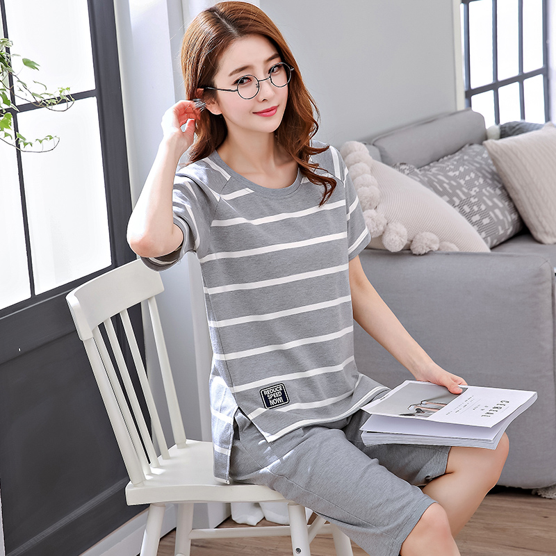 Pajamas ladies summer cotton short-sleeved can wear spring and autumn pants large size cartoon home service suits thin section