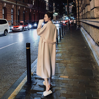 Double-sided cashmere coat women's 2020 popular new woolen coat mid-length Hepburn style Korean loose woolen winter