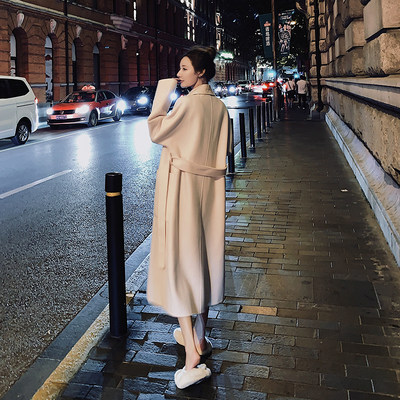 Double-sided cashmere dress female 2020 popular new woolen coat Middle long section Hyb wine Korean version of the loose woolen
