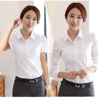 女春秋新款长袖衬衫OL通勤韩版女士职业工装白短袖衬衣修身白衬衫