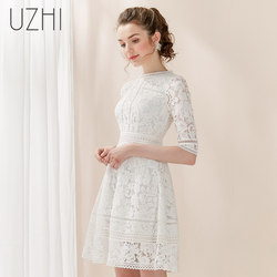 Usa 2021 new spring waist temperament white floral high-end small posing A word in sleeve lace dress