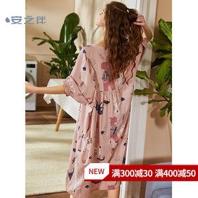 Ночные рубашки,  Анжи спутник хлопок дамское белье женщина весна мультики милый семь частей длинный рукав пижама длинная модель свободные большой размеров домой одежда платья, цена 1583 руб
