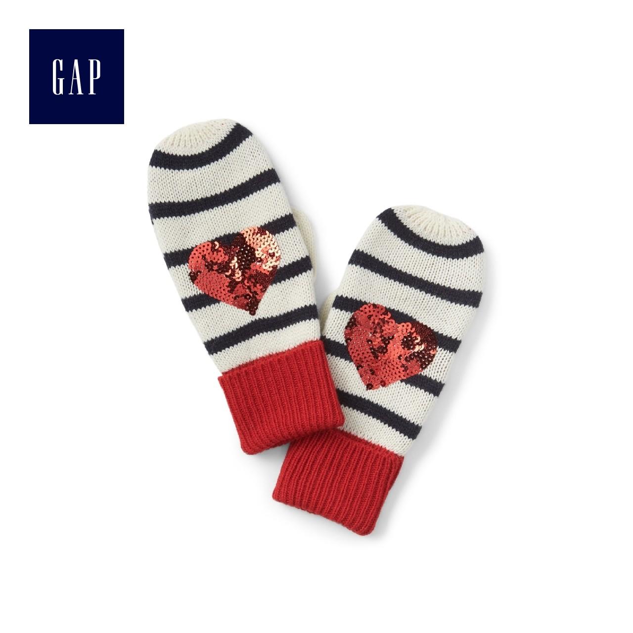 Gap девочки уютный блестки украшенный украшения любовь шаблон варежки перчатки 924655