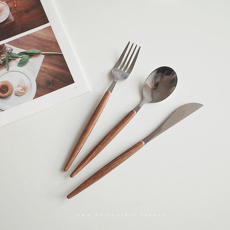 朴简日式仿金属不锈餐具勺餐具钢叉学生勺木柄西餐叉子8033