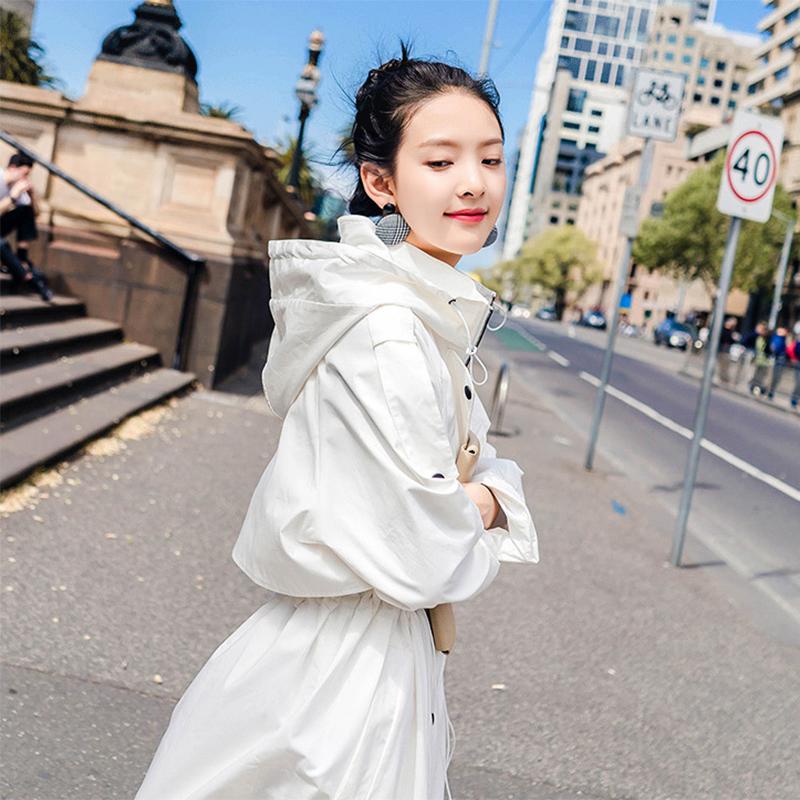 外套抽绳气质女中长款2019年春秋装季新款过膝v外套韩版风衣白色潮