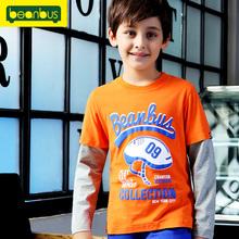 男童中大童100%纯棉假两件长袖T恤