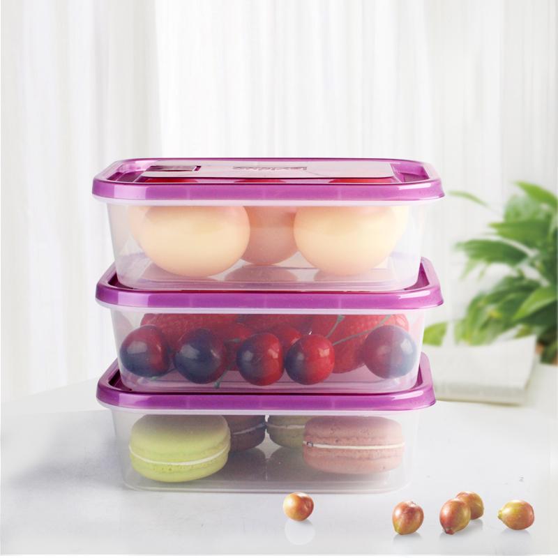 樂億多保鮮盒塑料冰箱收納盒長方形微波便當飯盒水果盒3件套,降價幅度71.7%