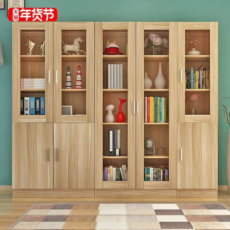 Bookcase bookshelf file cabinet free combination bookcase modern minimalist with glass door economic file office locker