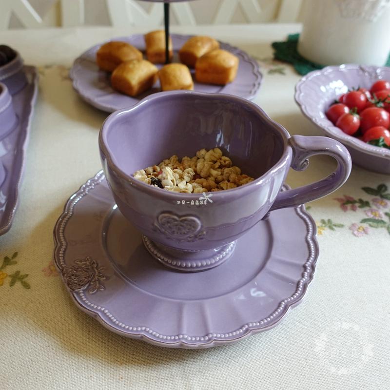 紫色茶具浮雕陶瓷精緻出口下午爱心三盘麦片杯双层点心盘饭碗详细照片