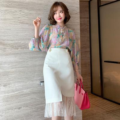 MIUCO彩扣印花灯笼袖上衣+拼接蕾丝不规则半裙套装女2020夏季新款