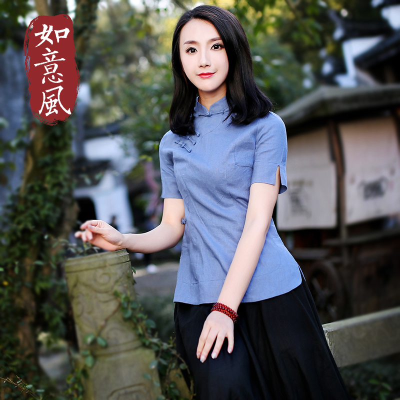 61607830019 USD 65.55  Tangzhuang female retro spring and summer cotton and ...