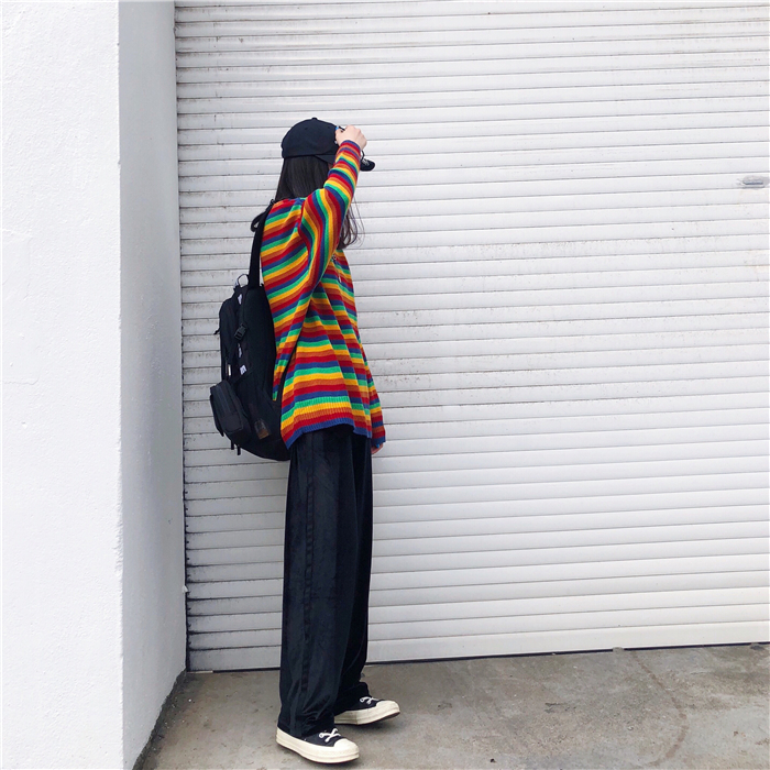 Female Korean Harajuku Hong Kong-flavored Loose Striped Sweater Women's Sweaters Japanese Kawaii Ulzzang Clothing For Women 15