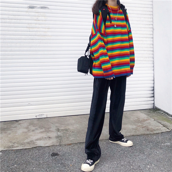 Female Korean Harajuku Hong Kong-flavored Loose Striped Sweater Women's Sweaters Japanese Kawaii Ulzzang Clothing For Women 5