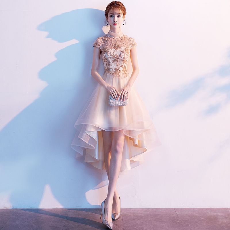 金色晚礼服女2019新款宴会气质法式伴娘小礼服裙平时可穿年会短款