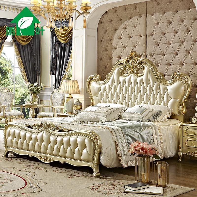 鹏叶欧式床双人床全实木1.8米v金色奢华婚床金色法式真皮宫廷床