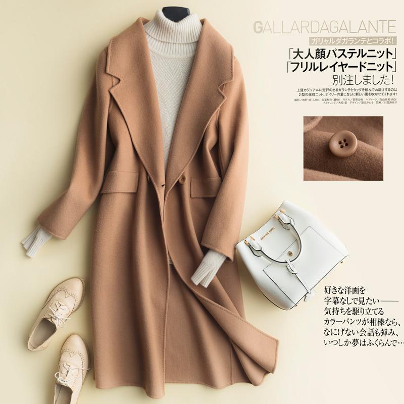 秋冬新款双面呢羊毛大衣女中长款毛呢外套大翻领呢子大衣加厚风衣