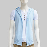 Spring and summer men's casual sports vest vest thin section hooded cardigan single layer vest slim white waistcoat