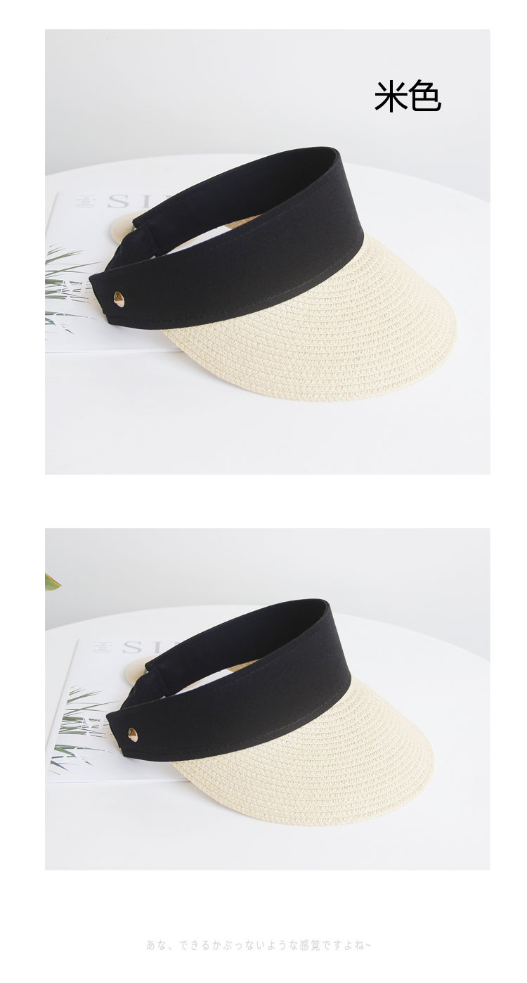 Fashion sunscreen empty top straw hat NHALD336012