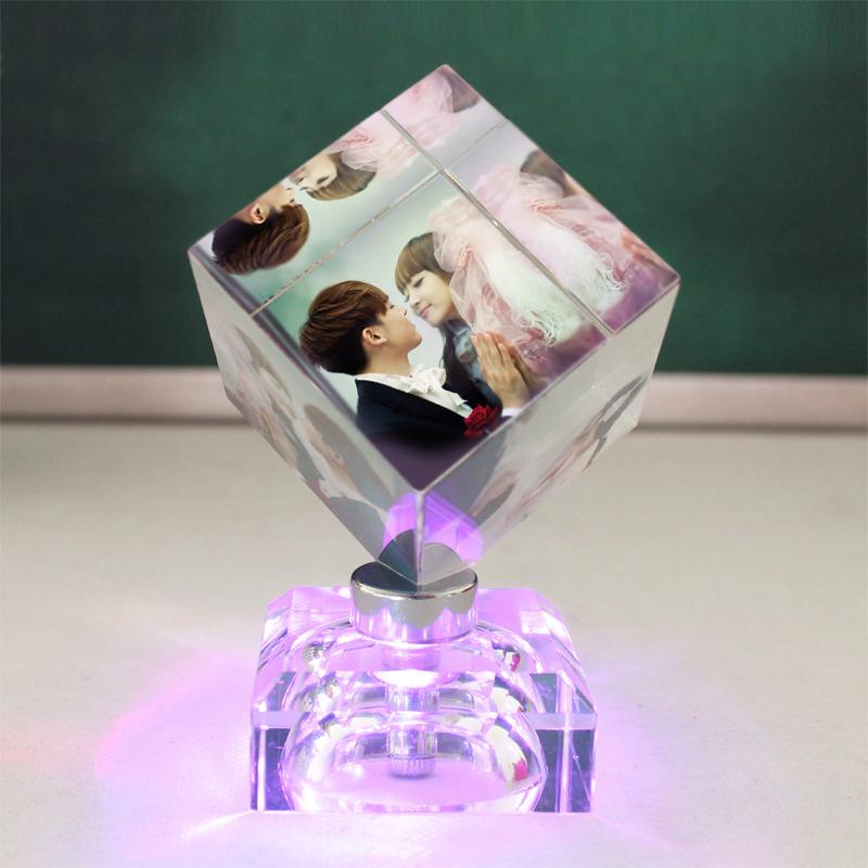 定制照片水晶装饰摆件,浪漫创意生日礼物