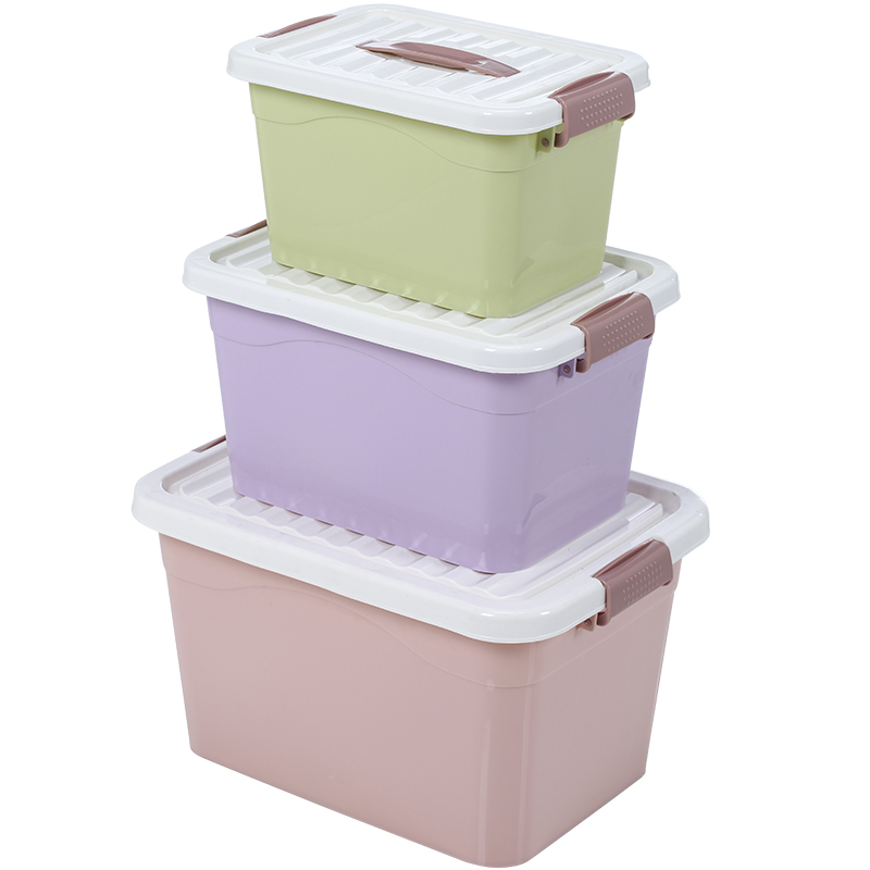 Portable Storage Box Clothes Toy Storage Box Storage Box Thick Plastic  Cover Large Extra Clearance Three Sets