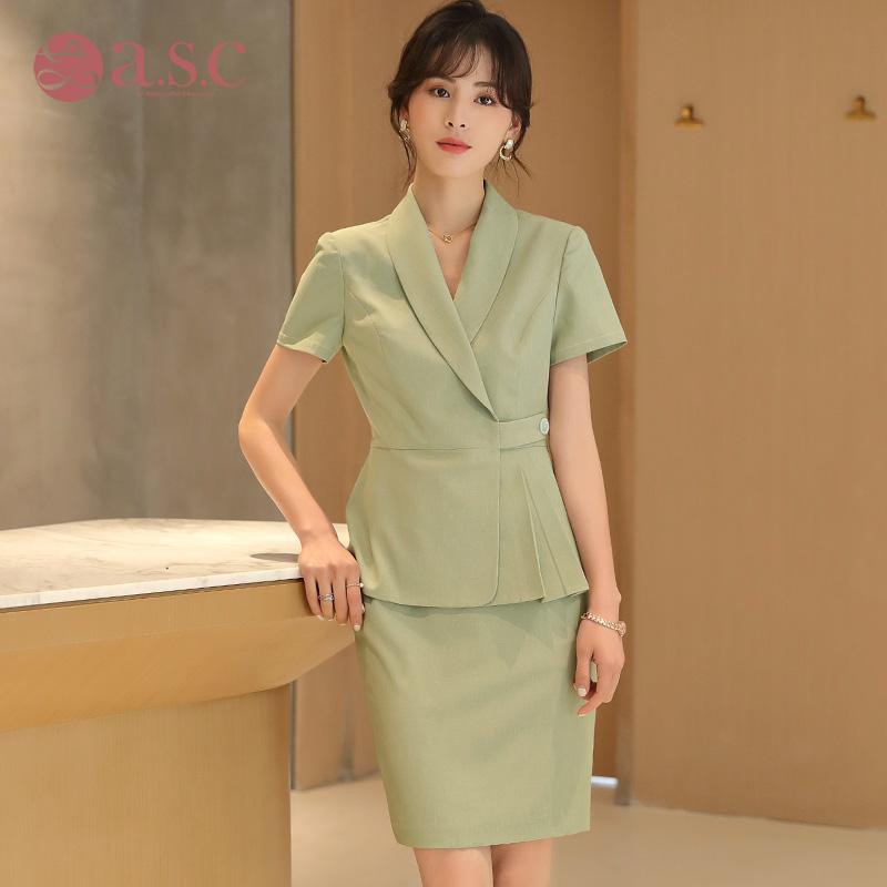 艾尚臣职业装套裙女神范夏装高端轻薄职业套装空姐气质OL工作服女