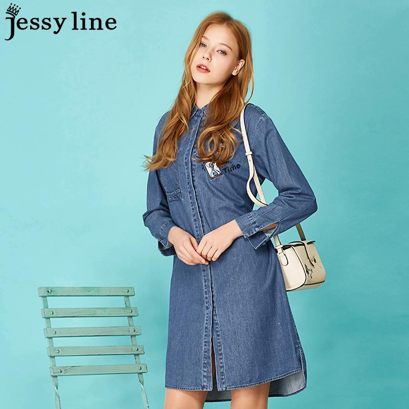 jessyline 2018春装新款 杰茜莱卡通刺绣纯棉牛仔衬衫长袖连衣裙