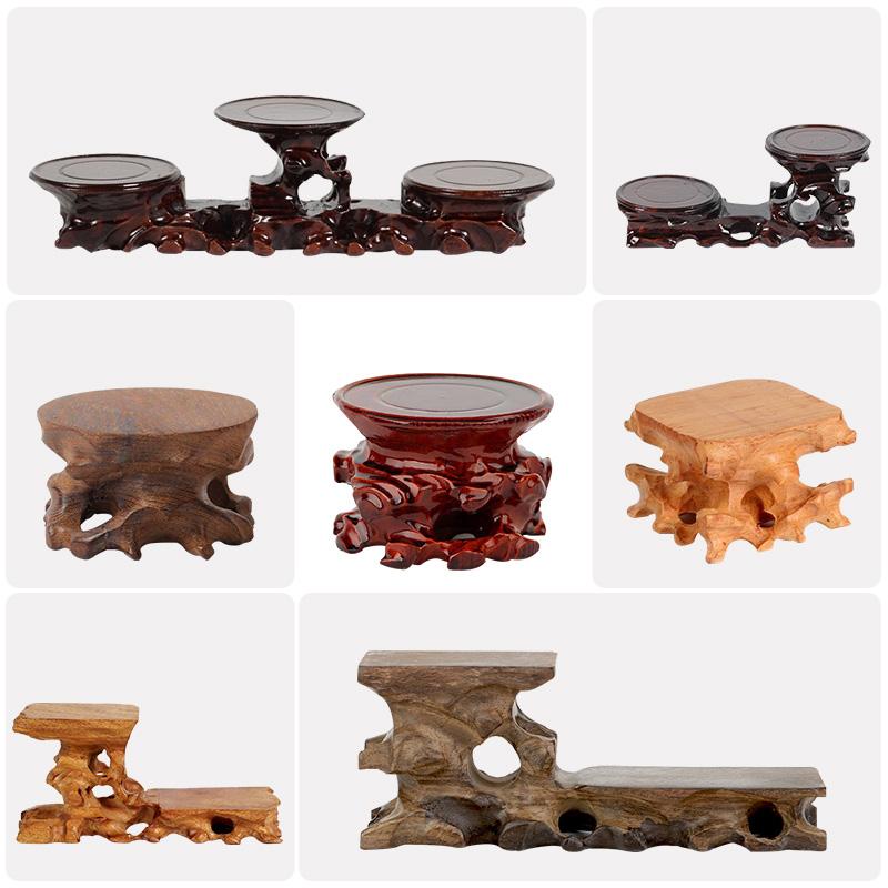 托架雕底座根雕茶壶玉器紫砂壶木质奇石木托实底座红木摆件高低