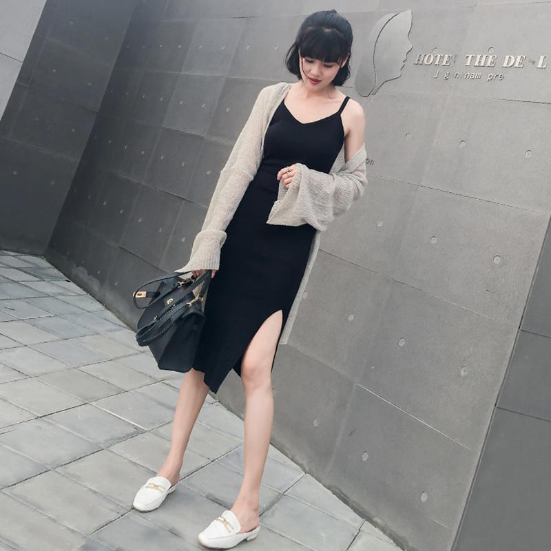 Трикотажный Sling платье женская лето 2018 новая коллекция Осенний ветровой ветер черный Нижняя жилет шикарная ранняя осенняя юбка