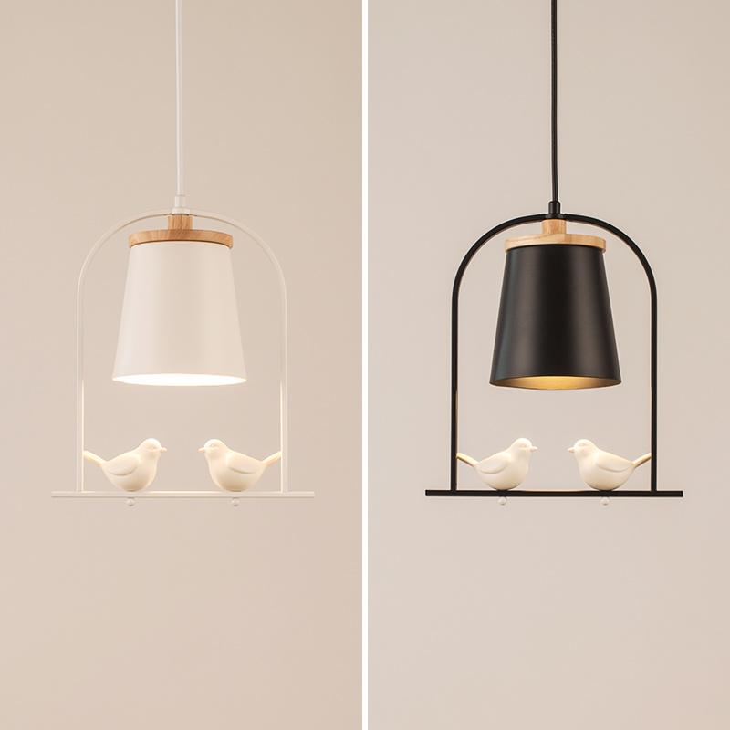 北欧客厅吊灯现代简约创意个性铁艺小鸟卧室过道走廊儿童房灯具