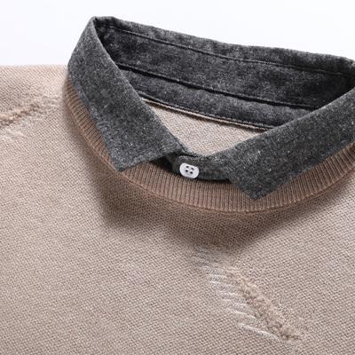 Áo len nam mùa thu / đông nam Áo len cổ áo dài tay giả Hai mảnh áo len giản dị Áo cổ lọ chạm đáy áo len - Áo len