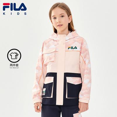 FILA KIDS斐乐童装男女童两件套2021冬季新款儿童梭织冲锋衣外套