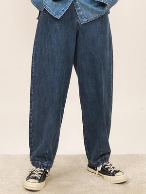 嬉游记原创年秋季高腰阔腿萝卜裤宽松牛仔裤女显瘦显高老爹裤
