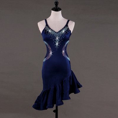 Latin Dance Dresses Latin Dance Competition Dresses Rumba Dresses Rhinestones Sleeveless Dress