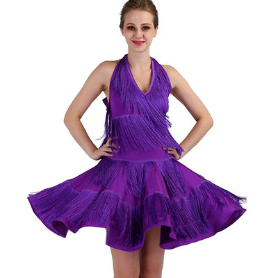 tassels Latin Dance Dresses long sleeves Rhinestones High Dress Big Sway Latin Performance Competition Dresses