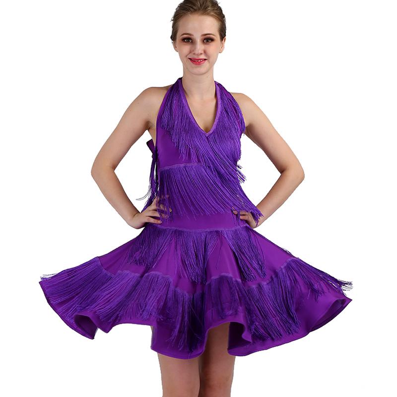 tassels Latin Dance Dresses long sleeves Rhinestones High Dress Big Sway Latin Performance Competition Dresses