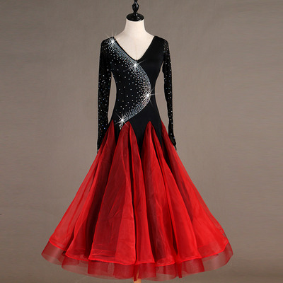Ballroom Dance Dresses Gold Ratio! Upgraded Flash Drill Grinding Skirt Tango Waltz Show Competition Dresses