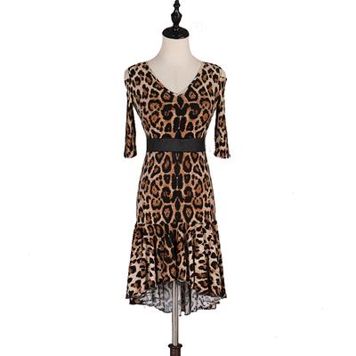 leopard Latin Dance Dresses Latin Dance Competition Dresses / Rhinestones High Dress