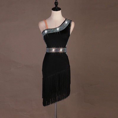 High-end diamond-inlaid Latin dance dress competition professional sexy fringed dress can be customized